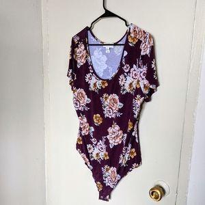 FOREVER 21+ 2X Floral Bodysuit
